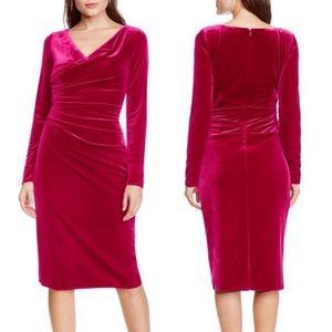 Vince Camuto raspberry velvet long sleeve dress